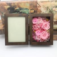 Cheap Natural Everlasting Preserved Flower Red Rose Gift Wood Photo Frame for Wedding Decoration gift for sale