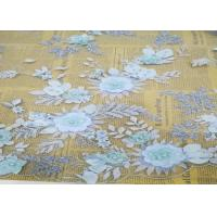 Cheap Embroidery 3D Floral Wedding Dress Lace Fabric By The Yard With Beads Light Blue for sale