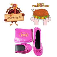 Cheap 2018 Hot Sell Thanksgiving Gift! China Factory Wholesale Pink Flat Heel Roll up Ballerina Shoes for sale