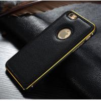 Cheap Metal Bumper Leather Cover Combo Mobile Phone Case For Apple iphone 6 6 Plus for sale