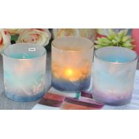 Cheap Frosted Glass Luxury Candle Holders , Feather Painted Glass Candle Jars for sale