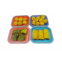Small Silicone Collapsible Lunch Box 1 Compartment Square Shape Manufactures