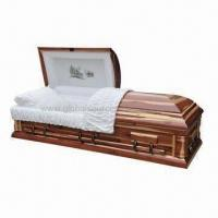 Cheap US Style Cedar Veneer Wood Casket with Adjustable Steel Bed for sale
