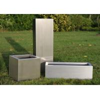 Cheap Brushed Stainless Steel Square Planters , Stainless Steel Flower Box 30-120cm Height for sale