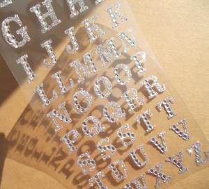 Cheap silver glitter sticker Alphabet rhinestone sticker for phone case for sale