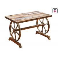 Cheap 4ft*2ft Plywood / Cast Iron Table Base Industrial Style Coffee Table With Wheel Design for sale