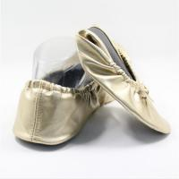 Cheap Stock and Good Price of Soft Gold Color Fold Up Ballet Flats in Expandable Tote Bag for Christmas Gift for sale