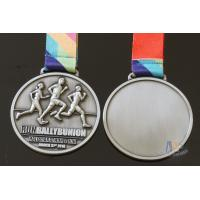 Cheap Half Marathon Or 10K Running Custom Sports Medals Antique Silver Plating Sublimated Ribbon for sale