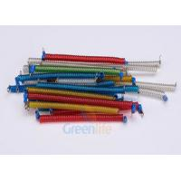 Cheap Stainless Steel Core Coiled Security Tethers Colorful Cords With Screw Terminals for sale