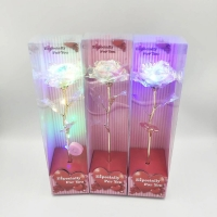 Cheap Wholesale Goild Foil Roses Long Stem Galaxy Roses In Gift Boxes 24k Gold Plated Foil Rose Flower Gifts for sale