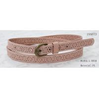 Cheap Old Brass Buckle Pink PU Ladies Stretch Belts With Punching Patterns for sale