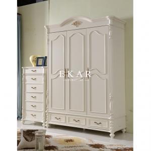 Cheap classic design 3 door bedroom wardrobe solid wood wardrobe for sale