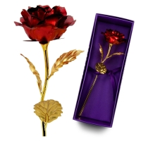 Cheap Hot Sale 24k Gold Plated Rose Reasonable Price Luxury Gold Foil Rose For Girlfriend Gift for sale