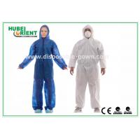 Cheap Hooded Disposable Protective Coverall With Elastic Wrist / Ankle / Waist for sale