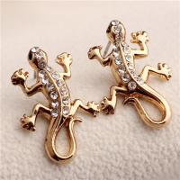 Cheap China Manufacturer Adorable Goldtone Rhinestone Crystal Gecko Lizard Necklace Earring for sale