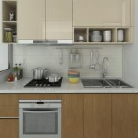 High Pressure Villa Laminate Kitchen Cabinets Moisture Proof Particle Board With Certificate Of
