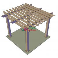 DIY wood plastic composite pergola Construction for garden / 4mx4mx3m / OLDA-5001B