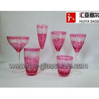 China Engraved glasses, wine glasses,hiball, tumblers, pink color, factory on sale