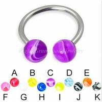 Cheap Marble Stripe Print UV Acrylic Balls Horseshoes CBR Circular Barbell / Surgical Steel Circulars With UV Balls for sale