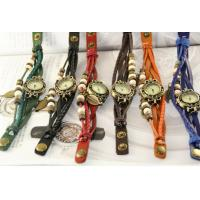 China leather bracelet watch ladies fashion accessories retro jewelry watch(8 Color) on sale