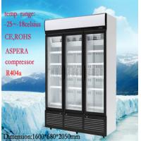 Stainless Steel Upright Commercial Display Freezer -25°C With 3 Doors