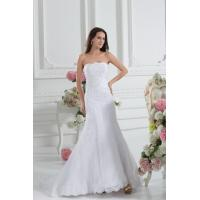 Simple strapless mermaid romantic lace wedding gowns white sweep train