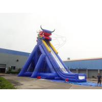 Cheap Large Inflatable Dino Slide Double Long Inflatable Slide At Amusement Park Games for sale