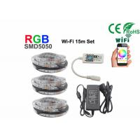 Cheap 15m Non Waterproof +Wifi Rgb 5050 Smd Led Strip With 12V Power for sale