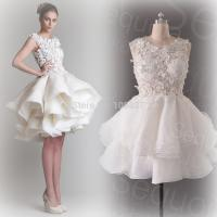 Organza petite women wedding dresses lace applique for Petite bride wedding dress