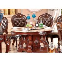 Cheap dining room round dining table marble top wooden carved for sale