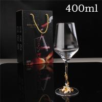 China Giant Glass Wine Glass 400ml Gold Stem Goblet Crystal Wine Glass on sale