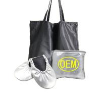 Cheap Wedding Club Silver Dancing Shoes for Women Foldable Ballet with Expandable Tote Bag OEM Factory for sale