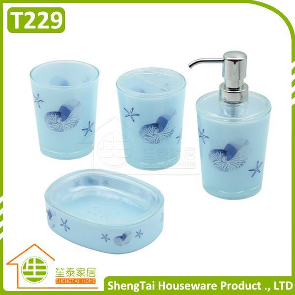 Bright color starfish bathroom accessories set trumpet for Bathroom accessories sets on sale