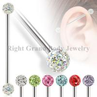 Cheap 14g Ferido Crystal Bead Industrial Barbells Jewelry With Multi Gem Balls for sale
