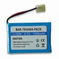 Cheap Lithium-ion Rechargeable Battery with 3.7V Voltage and 1,300mAh Capacity for sale