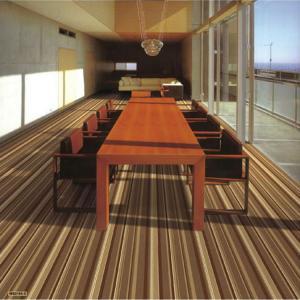 China Shaggy Cut Pile Carpet Tiles Stripe Style Machine Woven Technics on sale