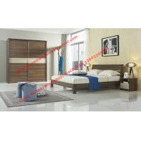 Cheap Wood & Panel furniture in modern deisgn Walnut color by KD bed with Sliding door wardrobe for sale