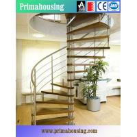 Wood Tread Steel Railing Loft Spiral Staircase For Small Places Space Saving