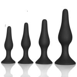 Cheap Couple pleasure body safe Anal Sex Toys 4 Piece purple black Silicone Anal Plug butt plug Set for sale