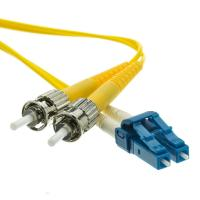 Cheap 3.0mm PVC Jacket ST to LC Duplex Singlemode Fiber Optic Patch Cord in Yellow for sale