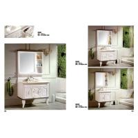 Waterproof PVC Bathroom Washbasin Cabinet Marble Top Vanity Sink Cabinet With Mirror Manufactures