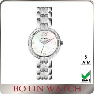 Elegant Hands Ladies Silver Diamond Watch 5atm AAA Zircons On Strap