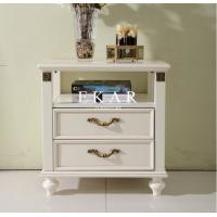 Cheap classic white nightstand with 2 drawers bedsides table for sale