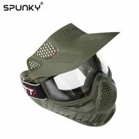 Cheap Tactical Protective Paintball Face Mask With Single Layer Anti Fog Lens for sale