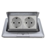 Cheap popular silver EU plug Pop Up double Floor Socket /power outlet for sale