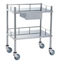 Cheap Movable Medical Clinical Trolley Stainless Steel With Two Shelves And One Drawer for sale