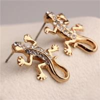 Quality China Manufacturer Adorable Goldtone Rhinestone Crystal Gecko Lizard Necklace wholesale