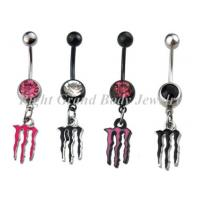 Cheap 316L Dangle Crystal Belly Piercing Rings Pink Crystal with High Polished for sale
