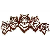 Cheap Vivid Five Wolves Contemporary Metal Wall Sculptures Popular Design for sale