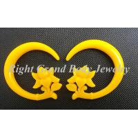 Cheap Female Spiral Ear Tapers / Yellow Flower Carved Ear Piercings Spiral Taper for sale